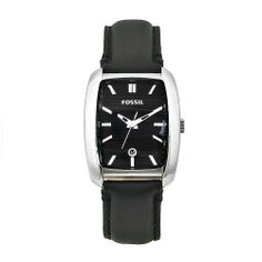 Fossil Men's FS4516 Sport Black Leather Black Dial Watch Fossil. $85.00. Black leather strap. Water-resistant to 165 feet (50 M). Black patterned dial; Date window. Japanese-Quartz movement; Scratch-resistant mineral. Stainless-steel case