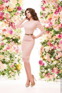 Купить Кружевное платье в миди длине - платье на выпускной ! - однотонный, модное платье