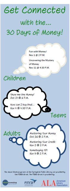 """We're excited for """"30 Days of Money"""" this fall at the library!  FREE financial programs for all ages!"""