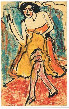 Danseres> Ernst Ludwig Kirchner. Postkaart