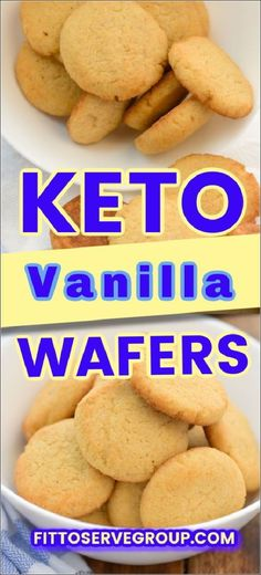 "These keto vanilla wafers are light, crispy, and as delicious as their high carb counterpart. Made with coconut flour these ""Nilla"" cookies are virtually carb-free with less than 1 carb per 4 cookie serving. It's the perfect keto-friendly Nilla cookie to have as a snack or to make Keto ""Banana"" pudding #ketocookies #lowcarbcookies keto vanilla wafers