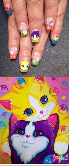 Lisa Frank cat nails