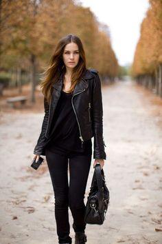 black jacket/black shirt/black skinny pants/black boots, black flats/ black bag