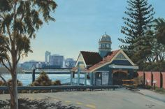 Oil Painting. Bulimba Ferry House  Brisbane, Australia.  By Julie Cane.