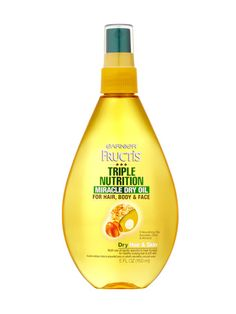 """The 9 Best Multitasking Beauty Products: Beauty Products Item #5: Garnier Fructis Triple Nutrition Miracle Dry Oil is """"a leave-in conditioner for damp hair, a shine enhancer for dry hair, and a protectant from chlorine and salt water if you spray it in your hair before jumping in the water."""""""