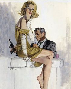 """shitshowpulps: """"Looks like a scene from a Parker book. Art by Robert McGinnis #RobertMcGinnis """""""