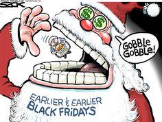Steve Sack - The Minneapolis Star Tribune - Black Friday COLOR - English - Black Friday, Thanksgiving, retailers