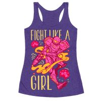 Fight Like A Girl Samus Parody Racerback
