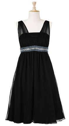Beaded empire waist tulle illusion dress. $79.95