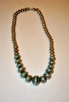 Turquoise Inlay Navajo Pearls