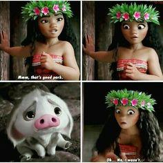 Really funny and cute as well scene in Moana! Sorry Pua I mean really moana Disney Dream, Disney Girls, Disney Love, Disney Magic, Disney Stuff, Disney And Dreamworks, Disney Pixar, Walt Disney, Funny Disney Memes