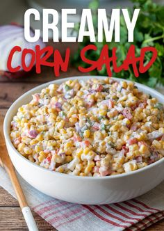 Side dish recipes 126171227049071588 - This Creamy Corn Salad Recipe is a quick and easy side dish that's filled with crisp corn kernels that pop in a creamy sauce; perfect for summer potlucks and bbq's! Summer Side Dishes, Side Dishes Easy, Pork Chop Side Dishes, Potluck Side Dishes, Corn Recipes, Side Dish Recipes, Pea Salad Recipes, Corn Salad Recipe Easy, Vegetable Salad Recipes