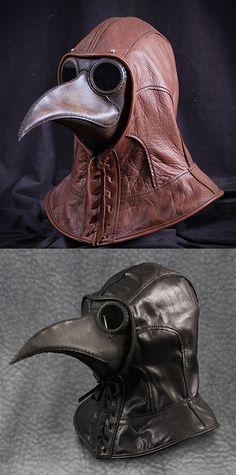 レザー製 ペスト医師 フード Plague Doctor Hat 各色 (ブラック) [並行輸入品]