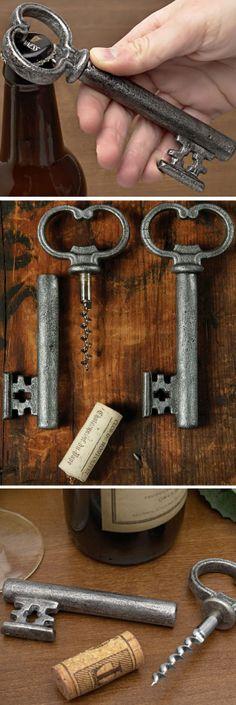 Antique Silver Skeleton Key Bottle Opener & Cork Pull