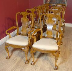 10 English Queen Anne Walnut Dining Chairs Walnut Dining Chairs, Antique Dining Chairs, Walnut Chair, English Antique Furniture, Queen Anne Chair, Chippendale Chairs, Dining Set, Victorian, Antiques
