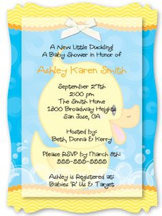 Ducky Duck - Personalized Vellum Overlay Baby Shower Invitations With Squiggle Shape $2.19