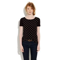 Madewell Polka Dot Spotted Tee A graphic silky panel in front, our tried-and-true cozy tee in back—it's the best of both worlds. •True to size. •Cotton/Modal®/rayon. Never worn Madewell Tops Tees - Short Sleeve