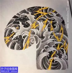 新传统潮流水浪石头闪电纹身手稿--精品图片 Traditional Japanese Tattoos, Japanese Tattoo Art, Japanese Tattoo Designs, Japanese Sleeve Tattoos, Yakuza Tattoo, Samurai Tattoo, Cloud Tattoo Sleeve, Japan Tattoo Design, Tattoo Background