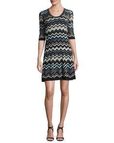 Half-Sleeve Lurex® Zigzag Dress, Black