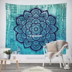 Boho Tapestry, Lotus Mandala tapestry wall hanging, bohemian decor, bohochic turquoise rustic decor Tapestry