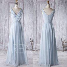 2016 Light Blue Chiffon Bridesmaid Dress, V Neck Wedding Dress, Long Baby Blue…