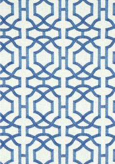 Alston Trellis Embroidery #fabric in Blue on White from the #Monterey Collection by #Thibaut