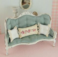Dollhouse Miniature Shabby Chic Distressed White Sofa Robins Egg Blue