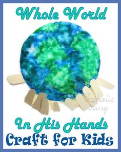 Coffee and Earth Day What could be better? Preschool Crafts for Kids*: Earth Day Coffee Filter with Hands Craft 2 Kids Crafts, Bible Crafts, Arts And Crafts, Family Crafts, Paper Crafts, Earth Craft, Earth Day Crafts, World Crafts, Earth Day Activities