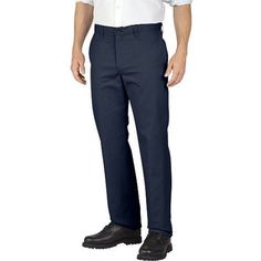 Genuine Dickies Men's Flat Front Pant, Size: 40 x 32, Blue
