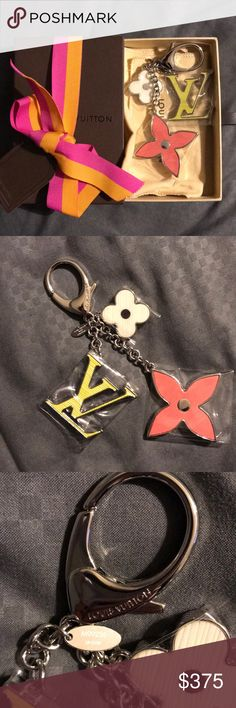 Authentic Louis Vuitton bag charm Brand new Louis Vuitton Fleur D'Epi bag charm still in box with plastic. Comes with box and dust bag. Pink, yellow and white with silver clasp Louis Vuitton Accessories