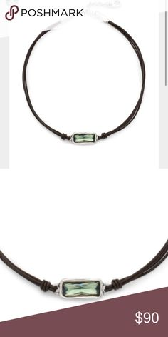 2a975a1ce5d2 Uno de 50 Crystal leather necklace Uno de 50 leather necklace with  Swarovski green rectangular