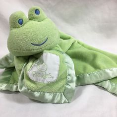 Pickles Green Frog Satin Trim Security Blanket Plush Blankey Lovey NuNu #Pickles