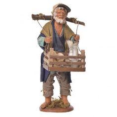 Holyart Milkman with Glass Bottles, Neapolitan Nativity Naples, Natal Diy, Wooden House, Wood Carving, Glass Bottles, Art Dolls, Christmas Decorations, Decoupage, Holidays