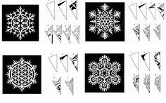 More Paper Snowflake patterns! Paper Snowflake Designs, Snowflake Template, Paper Snowflakes, Paper Art, Paper Crafts, Simple Snowflake, Paper Folding, Kirigami, Pattern Paper