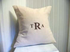 classic embroidered monogramed pillow cover - customizable - linen - brown - 3 letter monogram - gift idea. $19.99, via Etsy.