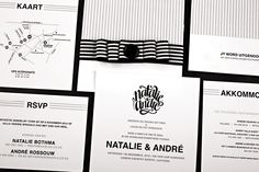 Chrystalace Wedding Stationery Black & White Stripe Invitation with custom pocket, two inserts and ribbon with button finish.