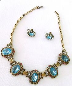 Vintage Victorian Blue Glass and Seed Pearl Necklace Earring Set Antique Retro Party Jewelry