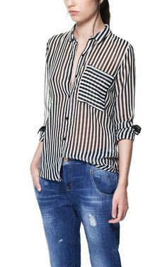 Black striped button up