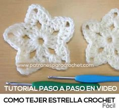 como tejer estrella al crochet bien facil Crochet Stars, Love Crochet, Crochet Granny, Diy Crochet, Crochet Baby, Crochet Things, Crochet Bookmarks, Crochet Ornaments, Crochet Flower Patterns