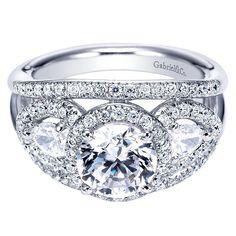 Gabriel & Co. Three Stone Diamond Halo Engagement Ring #justicejewelers #gabrielandco