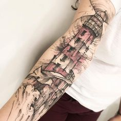"tattoosnob: ""Lighthouse tattoo by @victormontaghini in São Paulo, Brazil"