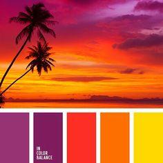 Color combination, color pallets, color palettes, use on flamingos Sunset Color Palette, Sunset Colors, Colour Pallette, Color Palate, Colour Schemes, Color Combos, Color Patterns, Orange Color Palettes, Gold Palette