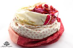Loop Baumwolle rot beige von #Lieblingsmanufaktur: Farbenfrohe Loop Schals, Tücher und mehr auf DaWanda.com