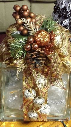 Glass block decorated for the holidays