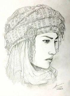 A Lady from Caucasus by Gambargin on DeviantArt Colored Pencil Artwork, Pencil Art Drawings, Art Drawings Sketches, Woman Sketch, Woman Drawing, Arabic Art, Amazing Drawings, Art Sketchbook, Indian Art