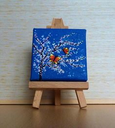 Tiny Blue Canvas, Pink and White Cherry Blossom with Butterflies, Original Acrylic Painting, Miniature Painting by Julia Underwood and Jewells Art Small Canvas Paintings, Small Canvas Art, Mini Canvas Art, Small Paintings, Blue Canvas, Small Art, Cuadros Diy, White Cherry Blossom, White Cherries