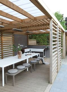 The pergola you choose will probably set the tone for your outdoor living space, so you will want to choose a pergola that matches your personal style as closely as possible. The style and design of your PerGola are based on personal Pergola With Roof, Backyard Pergola, Pergola Plans, Backyard Landscaping, Patio Stone, Patio Privacy, Deck Patio, Flagstone Patio, Concrete Patio
