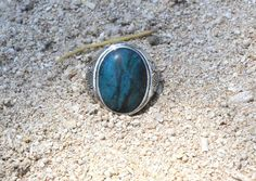 Mens Turquoise Ring with beautifully hand carved engravings deeply into the thick solid 925 Sterling Silver. This ring can be personalised for your man with optional free engraving or hand stamping available, just write what you would like in the buyers notes upon check out. As sterling