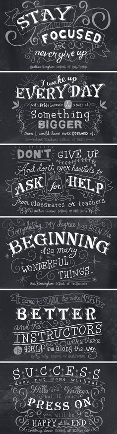Stay focused, never give up. Wake up every day wth pride... (Meaningful inspiring quotes) LOVE CHALKBOARD LETTERING! <3