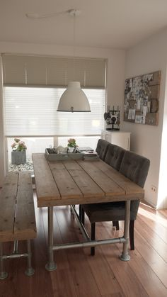 Dining room with recycled materials